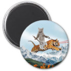 Cat Riding A Tiger Magnet