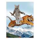 Cat Riding A Tiger Postcard