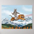 Cat Riding A Tiger Poster