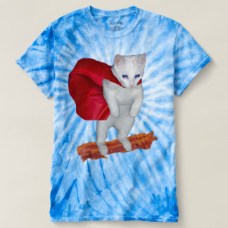 Cat Riding Bacon With Superhero Cape T-Shirt