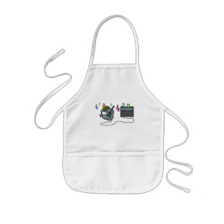Cat Rolls Onto His Back While Playing His Guitar Aprons