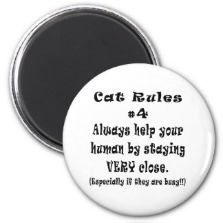 Cat Rules Number 4 6 Cm Round Magnet