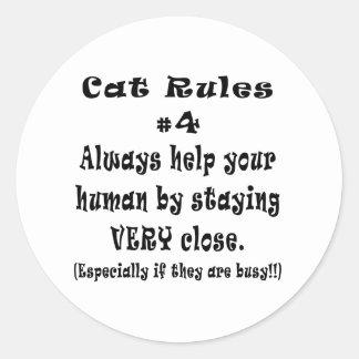 Cat Rules Number 4 Classic Round Sticker