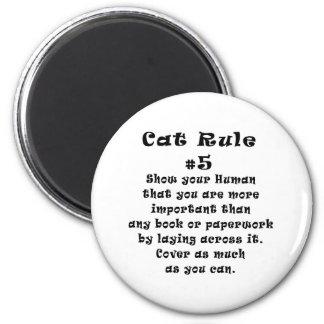 Cat Rules Number 5 6 Cm Round Magnet