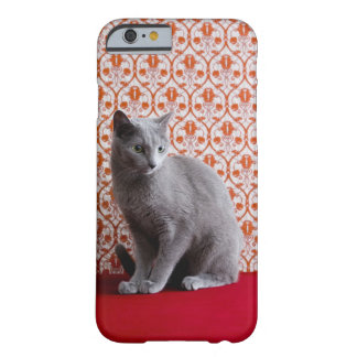 Cat (Russian blue) and wallpaper background Barely There iPhone 6 Case