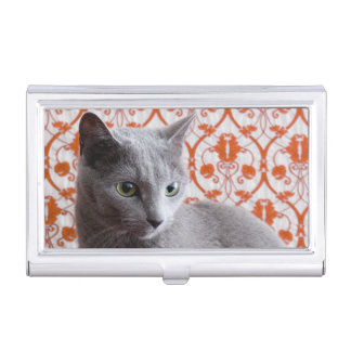 Cat (Russian blue) and wallpaper background Business Card Holder