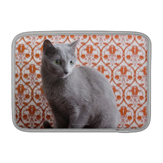 Cat (Russian blue) and wallpaper background Sleeve For MacBook Air