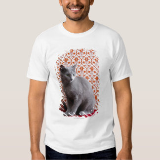 Cat (Russian blue) and wallpaper background Tshirts