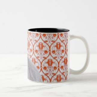 Cat (Russian blue) and wallpaper background Two-Tone Coffee Mug