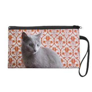 Cat (Russian blue) and wallpaper background Wristlet Purse