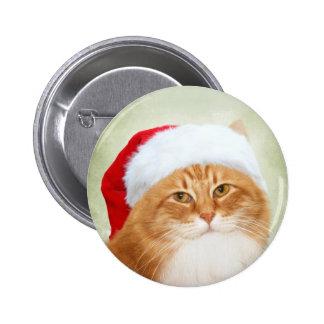 Cat Santa Claus 6 Cm Round Badge