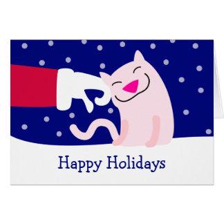 Cat & Santa Claus Greeting Card