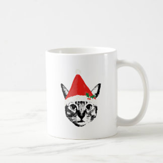 Cat & santa hat mugs