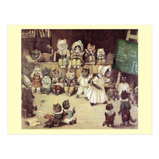Cat School by Louis Wain Postcard