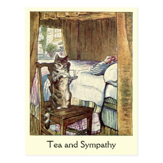 Cat Serves a Cup of ❝Tea and Sympathy❞ Postcard