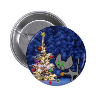 Cat Setting Up A Christmas Tree 6 Cm Round Badge
