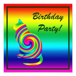 Cat Shaped Rainbow Twirl 13 Cm X 13 Cm Square Invitation Card