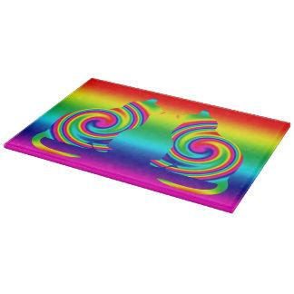 Cat Shaped Rainbow Twirl Cutting Board