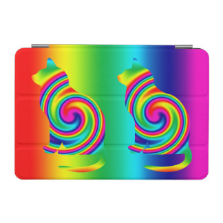 Cat Shaped Rainbow Twirl iPad Mini Cover
