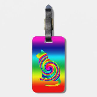 Cat Shaped Rainbow Twirl Luggage Tag