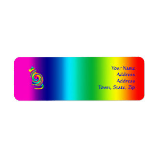 Cat Shaped Rainbow Twirl Return Address Label
