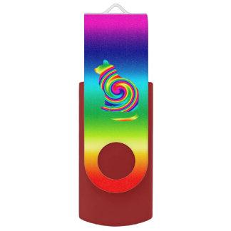 Cat Shaped Rainbow Twirl USB Flash Drive