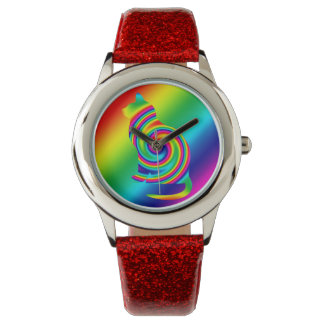 Cat Shaped Rainbow Twirl Watch
