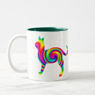 Cat Shaped Rainbow Twist Mug
