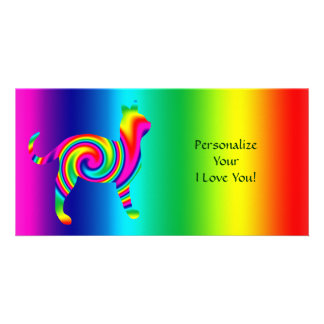 Cat Shaped Rainbow Twist Picture Card