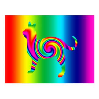 Cat Shaped Rainbow Twist Postcard