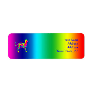 Cat Shaped Rainbow Twist Return Address Label