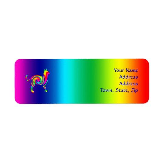 Cat Shaped Rainbow Twist Return Address Label