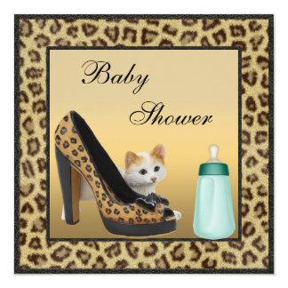 Cat, Shoe & Bottle Fur Texture Neutral Baby Shower Card