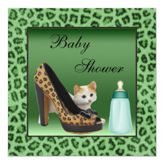 Cat, Shoe & Bottle Green Fur Texture Baby Shower 13 Cm X 13 Cm Square Invitation Card