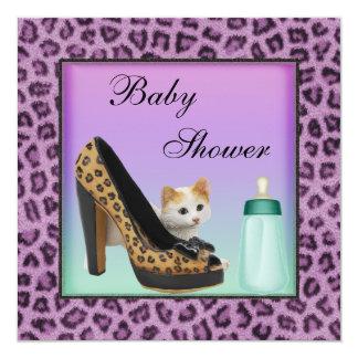 Cat, Shoe & Bottle Purple Fur Texture Baby Shower Card