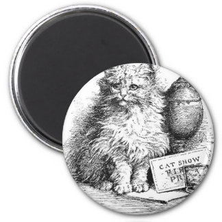 Cat Show Artwork 6 Cm Round Magnet