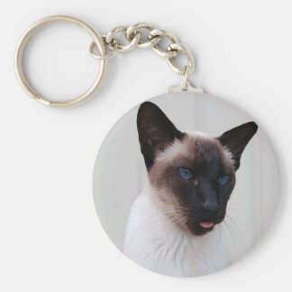 Cat Siamese Portrait Basic Round Button Key Ring
