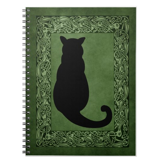 Cat Silhouette and Celtic Green Spiral Notebook