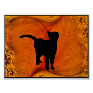 Cat Silhouette on Fractals portfolio size poster
