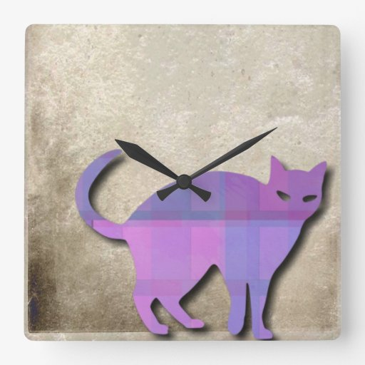 Cat Silhouette On Grungy Background Wallclock
