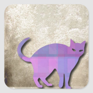 Cat Silhouette On Grungy Background Square Sticker