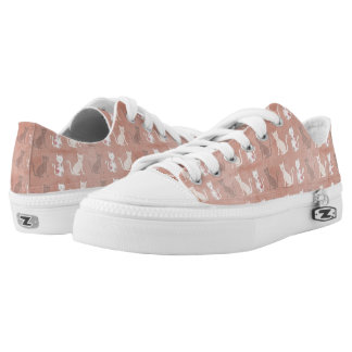 Cat Silhouette Pattern on Brown Low Tops