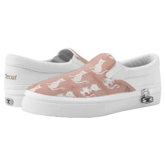 Cat Silhouette Pattern on Brown Slip-On Shoes