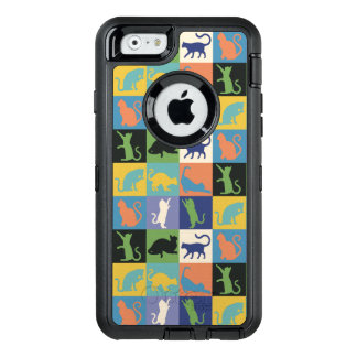 Cat Silhouette Quilt Squares in Vintage Colors OtterBox Defender iPhone Case