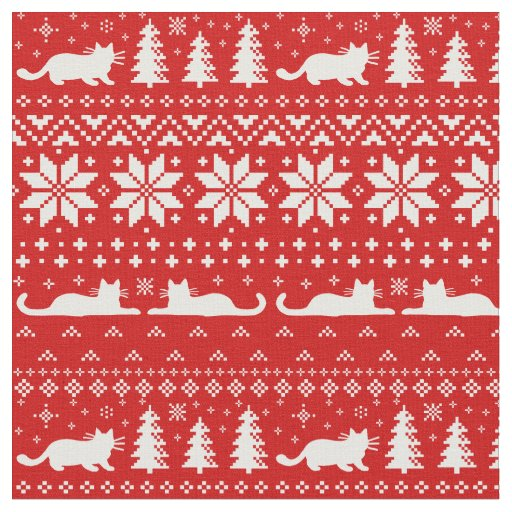 Cat Silhouettes Christmas Sweater Style Pattern Fabric