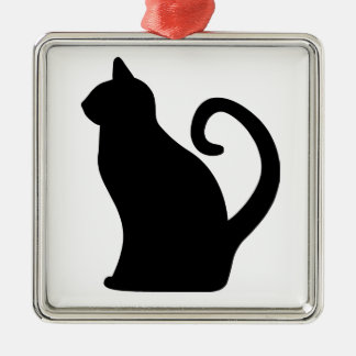 Cat. Silver-Colored Square Decoration