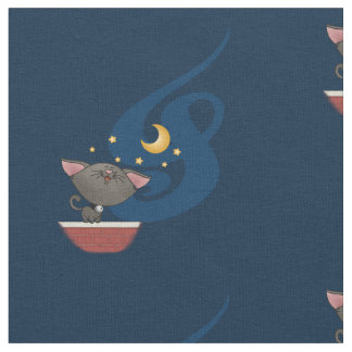 Cat Singing on a Brick Wall at Night Caterwauling Fabric
