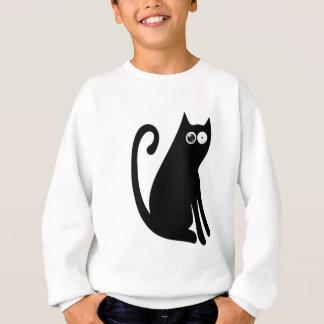 Cat Sit And Look Back Black Stunned Eyes Sweatshirt