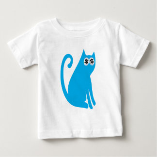 Cat Sit And Look Back Blue Cash Eyes Blue Baby T-Shirt