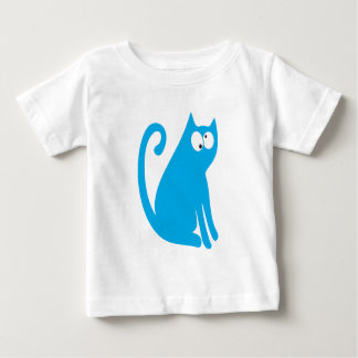 Cat Sit And Look Back Blue Topsy Turvey Eyes Baby T-Shirt